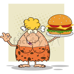chef cave woman cartoon mascot character holding a big burger and gesturing ok vector illustration clipart. Commercial use image # 399025