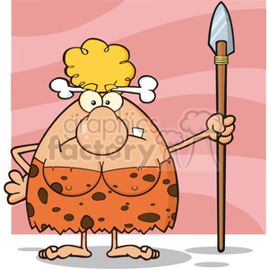 angry cave woman cartoon mascot character standing with a spear vector illustration clipart. Commercial use image # 399055