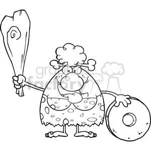 black and white happy cave woman cartoon mascot character holding a club and showing whell vector illustration clipart. Royalty-free image # 399095