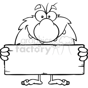 black and white funny male caveman cartoon mascot character holding a stone blank sign vector illustration clipart. Commercial use image # 399125