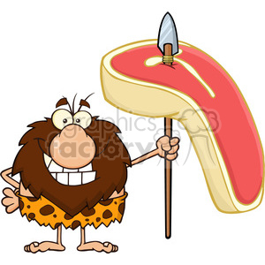 9915 smiling male caveman cartoon mascot character holding a spear with big raw steak vector illustration clipart. Royalty-free image # 399135