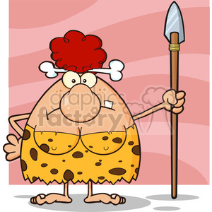 10068 angry red hair cave woman cartoon mascot character standing with a spear vector illustration clipart. Commercial use image # 399165