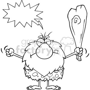 black and white grumpy male caveman cartoon mascot character holding up a fist and a club vector illustration with angry speech bubble clipart. Royalty-free image # 399195