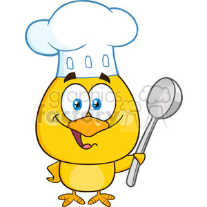 royalty free rf clipart illustration happy chef yellow chick cartoon character holding a spoon vector illustration isolated on white clipart. Royalty-free image # 399205