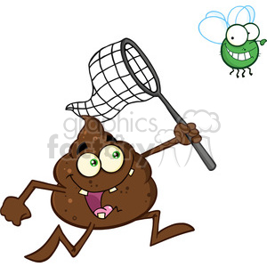 royalty free rf clipart illustration funny poop cartoon character catching a fly with a net vector illustration isolated on white backgrond clipart. Commercial use image # 399215