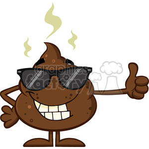 royalty free rf clipart illustration smiling poop cartoon mascot character with sunglasses giving a thumb up vector illustration isolated on white backgrond clipart. Royalty-free image # 399225