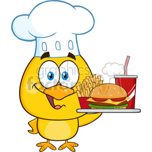 royalty free rf clipart illustration chef yellow chick cartoon character holding a fast food tray vector illustration isolated on white clipart. Commercial use image # 399235