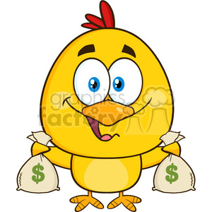 royalty free rf clipart illustration yellow chick cartoon character holding money bags vector illustration isolated on white clipart. Royalty-free image # 399245