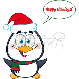 royalty free rf clipart illustration cute christmas penguin cartoon character with open wings and speech bubble and text vector illustration isolated on white clipart. Royalty-free image # 399265