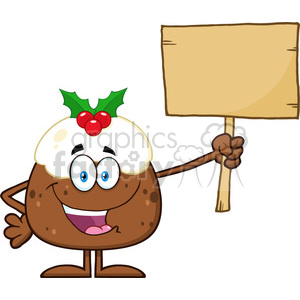 royalty free rf clipart illustration happy christmas pudding cartoon character holding up a blank wood sign vector illustration isolated on white clipart. Royalty-free image # 399275