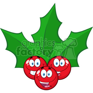 royalty free rf clipart illustration happy christmas holly berries with leaves cartoon characters vector illustration isolated on white clipart. Royalty-free image # 399285