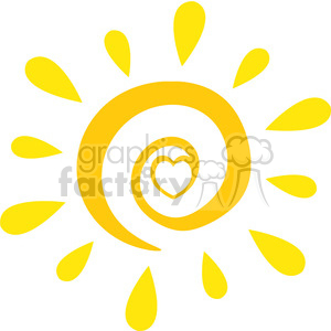 royalty free rf clipart illustration abstract sun with heart simple design vector illustration isolated on white background clipart. Commercial use image # 399296