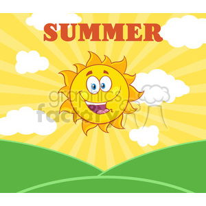 royalty free rf clipart illustration sunshine happy sun mascot cartoon character over landscape vector illustration with suburst background and text summer clipart. Royalty-free image # 399306