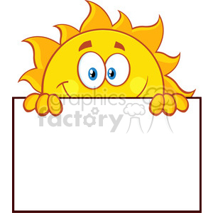 royalty free rf clipart illustration cheerful sun cartoon mascot character over a sign blank board vector illustration isolated on white background clipart. Commercial use image # 399314