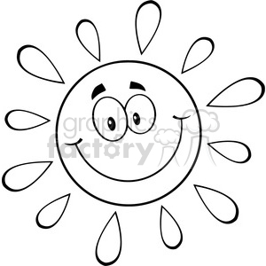 royalty free rf clipart illustration black and white happy sun cartoon mascot character vector illustration isolated on white background clipart. Royalty-free image # 399324
