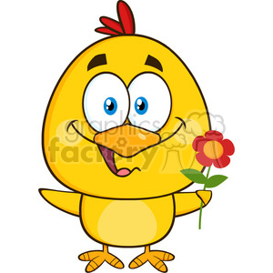 royalty free rf clipart illustration cute yellow chick cartoon character holding a flower vector illustration isolated on white clipart. Commercial use image # 399354