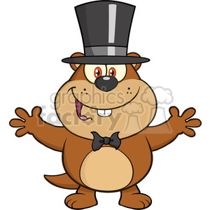 royalty free rf clipart illustration smiling marmot cartoon character with open arms in groundhog day vector illustration isolated on white clipart. Royalty-free image # 399364