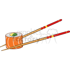 9403 illustration sushi roll with chopsticks vector illustration isolated on white clipart. Royalty-free image # 399384