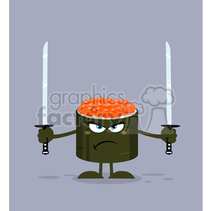 illustration angry sushi roll cartoon mascot character ready to fight with two katana swords vector illustration flat style with background clipart. Royalty-free image # 399394