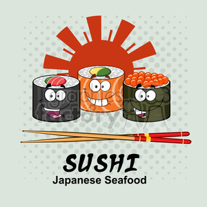 9400 illustration sushi roll set cartoon characters with chopsticks and text vector illustration with background clipart. Royalty-free image # 399404