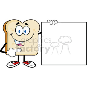 illustration talking bread slice cartoon mascot character pointing to a blank sign vector illustration isolated on white background clipart. Royalty-free image # 399414