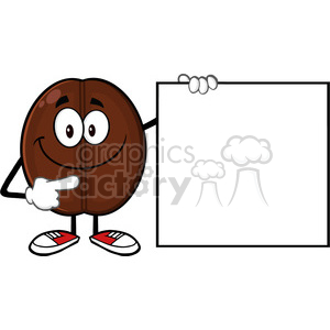 illustration smiling coffee bean cartoon mascot character pointing to a blank sign vector illustration isolated on white clipart. Commercial use image # 399424
