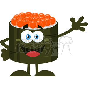 illustration cute sushi roll cartoon mascot character waving vector illustration flat style isolated on white clipart. Royalty-free image # 399443