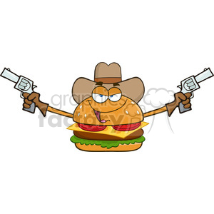 illustration cowboy burger cartoon mascot character holding up two revolvers vector illustration isolated on white background clipart. Royalty-free image # 399465