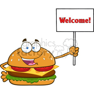 illustration burger cartoon mascot character holding a sign with text wellcome vector illustration isolated on white background clipart. Commercial use image # 399485