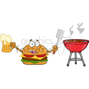 illustration happy burger cartoon mascot character holding a beer and bbq slotted spatula by a grill vector illustration isolated on white background clipart. Royalty-free image # 399505