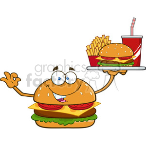 illustration burger cartoon mascot character holding a platter with burger, french fries and a soda vector illustration isolated on white background clipart. Royalty-free image # 399515