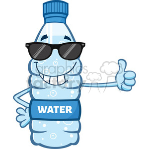 illustration cartoon ilustation of a water plastic bottle mascot character with sunglasses giving a thumb up vector illustration isolated on white background clipart. Commercial use image # 399525