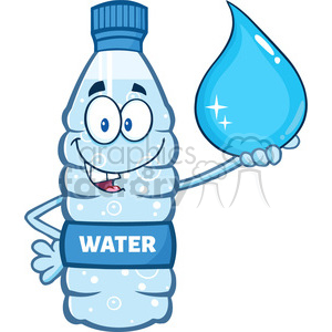 illustration cartoon ilustation of a water plastic bottle mascot character holding a water drop vector illustration isolated on white background clipart. Commercial use image # 399545