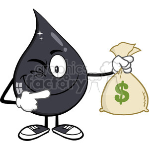royalty free rf clipart illustration winking petroleum or oil drop cartoon character holding a money savings bag vector illustration isolated on white background clipart. Royalty-free image # 399563