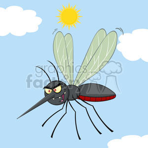 royalty free rf clipart illustration mosquito cartoon character flying vector illustration with background clipart. Royalty-free image # 399600