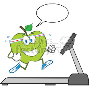royalty free rf clipart illustration healthy green apple cartoon character running on a treadmill with speech bubble vector illustration isolated on white clipart. Royalty-free image # 399660