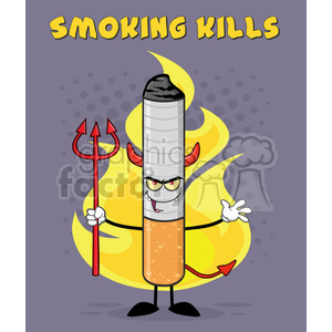 devil cigarette cartoon mascot character welcoming and holding a trident over flames and purple halftone with welcome to smoking kills text vector illustration with background clipart. Royalty-free image # 399688