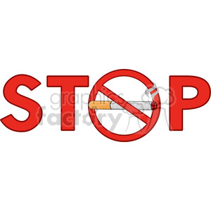 royalty free rf clipart illustration stop smoking sign text with cigarette vector illustration isolated on white background clipart. Royalty-free image # 399698