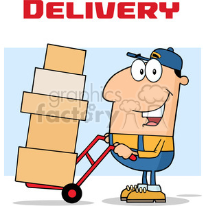 cartoon delivery postage deliver shipping moving mover man people job career employee