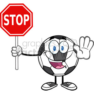 funny soccer ball cartoon mascot character gesturing and holding a stop sign vector illustration isolated on white background clipart. Royalty-free image # 399728