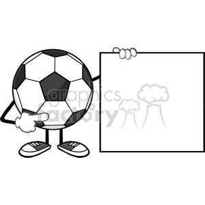 soccer ball faceless cartoon mascot character pointing to a blank sign vector illustration isolated on white background