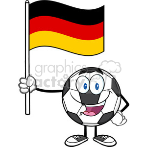 happy soccer ball cartoon mascot character holding a flag of germany vector illustration isolated on white background clipart. Commercial use image # 399748