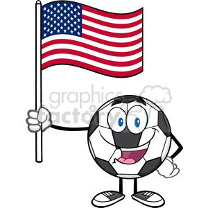 happy soccer ball cartoon mascot character holding a flag of the united states vector illustration isolated on white background clipart. Royalty-free image # 399758