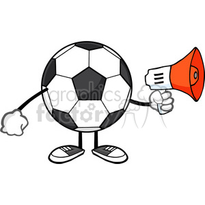 soccer ball faceless cartoon mascot character using a megaphone vector illustration isolated on white background clipart. Royalty-free image # 399768