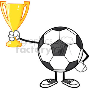 soccer ball cartoon character holding a golden trophy cup vector illustration isolated on white background clipart. Royalty-free image # 399788