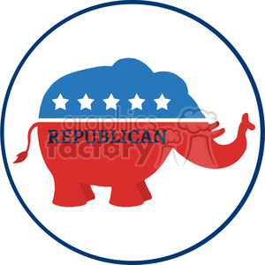 republican elephant cartoon character circale label vector illustration flat design style isolated on white clipart. Royalty-free image # 399838