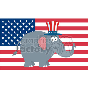 republican elephant cartoon character with uncle sam hat over usa flag vector illustration flat design style isolated on white clipart. Royalty-free image # 399848