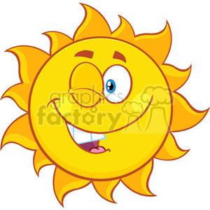 winking sun cartoon mascot character vector illustration isolated on white background clipart. Royalty-free image # 399859