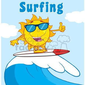 surfer sun cartoon mascot character with sunglasses riding a wave and showing thumb up vector illustration with background and text surfing clipart. Royalty-free image # 399879
