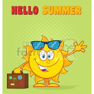 10160 smiling summer sun cartoon mascot character with sunglasses carrying luggage and waving vector illustration isolated on white background clipart. Commercial use image # 399889